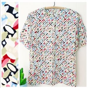VTG 80s Multi-color Midcentury Abstract Dot Top